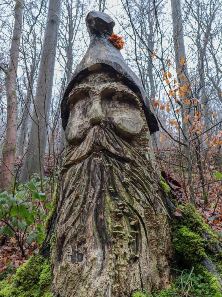 Holzfigur, Wald, Moos, Laub, Bäume
