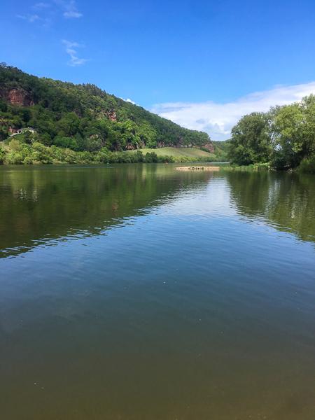 Mosel, AbenteuerWomo, Fluss, Sonnenschein, Wasser, Spiegelung